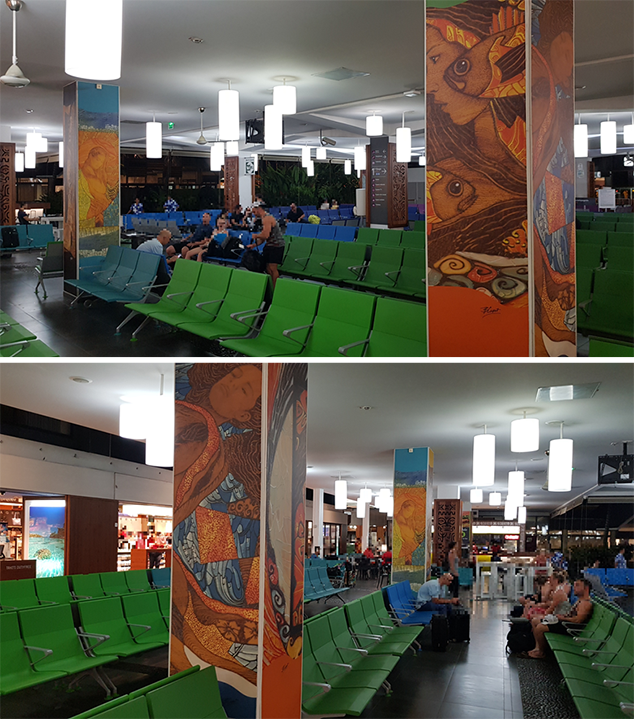 Les toiles de Bruno CURET en harmonie sur les piliers de la salle d'embarquement internationale de l'aéroport de Tahiti-Faa'a