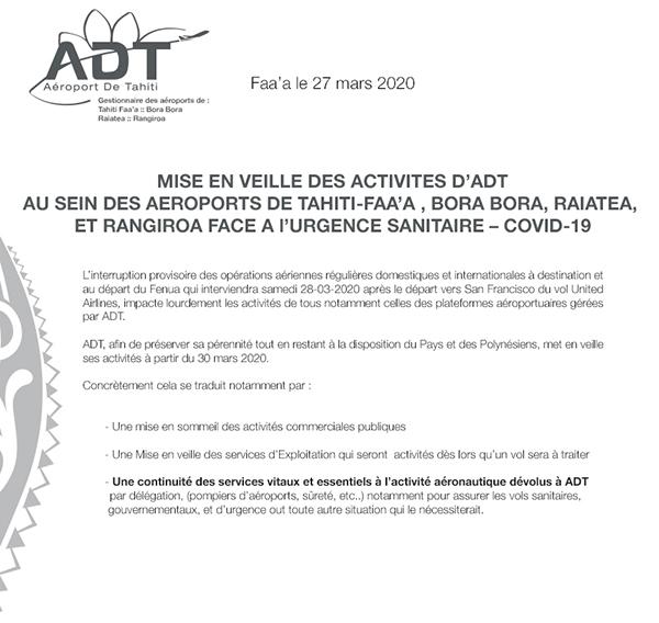 Mise en veille des activités d'ADT face à l'urgence sanitaire COVID-19
